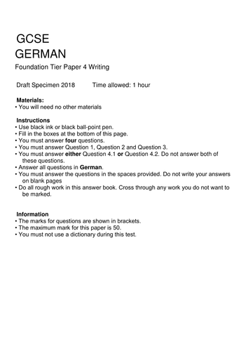 gcse german new aqa 2018 specification gcse style foundation writing paper on topic of. Black Bedroom Furniture Sets. Home Design Ideas