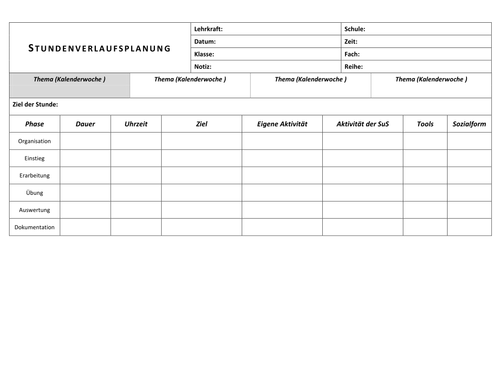Blank Lesson Plan Template In German By Dominikdresel Teaching - Language lesson plan template