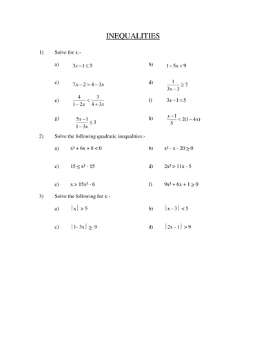 A level solving quadratic inequalities