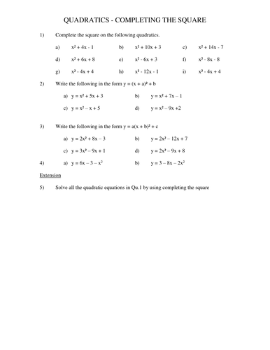 Quadratic Sequences - GCSE Mathematics 1 - 9 (Advanced Algebra) by ...