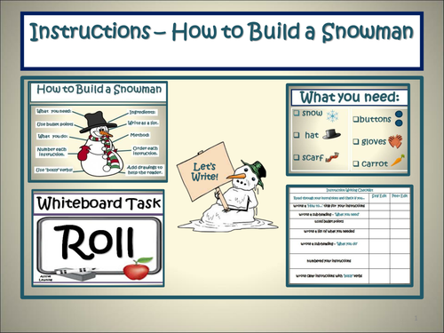 Writing Instructions How To Build A Snowman With Additional Tasks