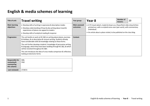 Year 8 Travel writing  - SoL only