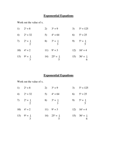 Solving Simple Exponential Equations Homework By Tgc100969