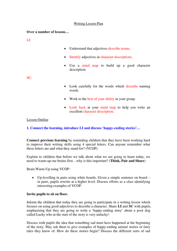 Adjectives Writing Lesson - ACfE First or Second Level