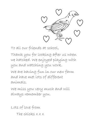 Chick Farewell Letter- hatching chicks in class project resource