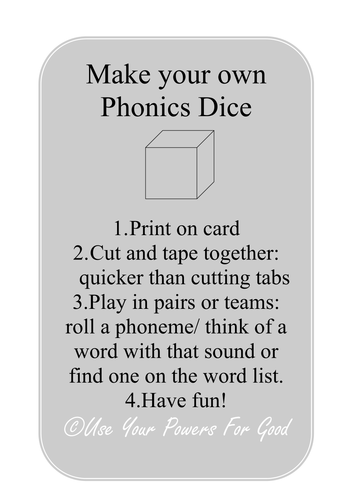 letters and sounds phonics DICE GAME phase 2 3 4
