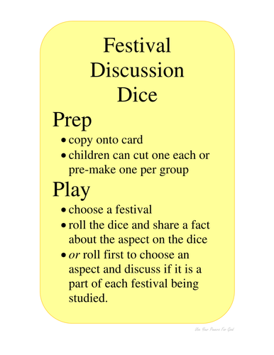 FESTIVALS DICE comparing celebrations similarities and differences EYFS UW