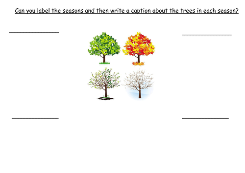 Labelling the Seasons and writing a caption. Filling in the missing blanks.