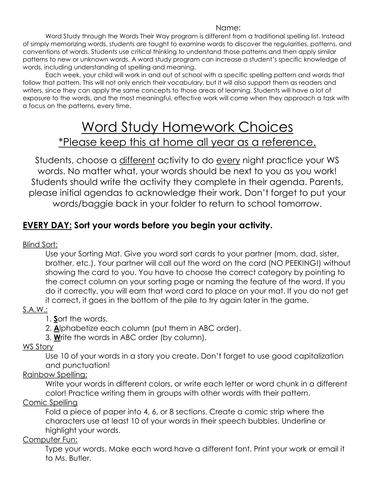 Words Their Way Word Work Homework