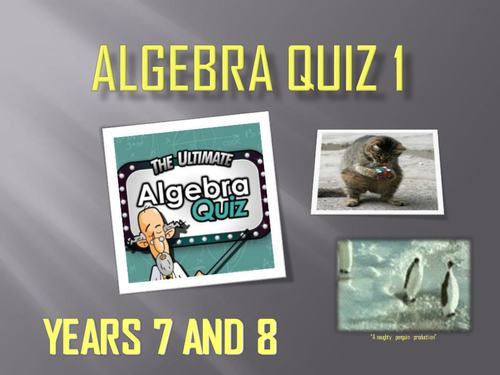 Year 7 and 8 Algebra Quiz - 30 Questions