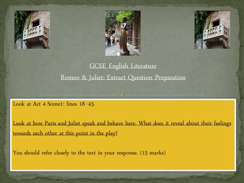 Eduqas/WJEC English Literature - Romeo and Juliet - Exam Extract Preparation
