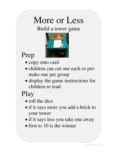 MORE AND LESS game for learning about early maths concepts. FREE  just need blocks or lego