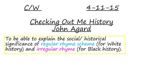 Checking Out Me History- John Agard