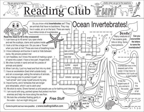 Ocean Invertebrates Two-Page Activity Set