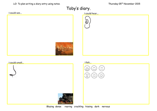 Toby and the great fire of london diary entry plan by for Diary writing template ks1