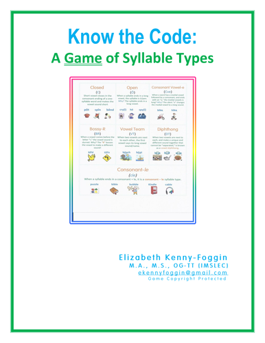 Know the Code : Syllable Types Game