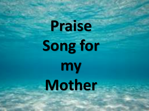 nettles praise song for my mother Scannells son falls into a bed of nettles and is hurt physicality hurt by the stings which cause blisters on his tender skin the poet however, is affected mentally as he realizes that he is unable to save his son from the dangers that the world represents in praise song for my mother however.