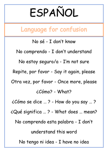 Spanish Poster - Language for confusion