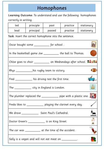 year 5 and 6 homophone worksheet teaching resources