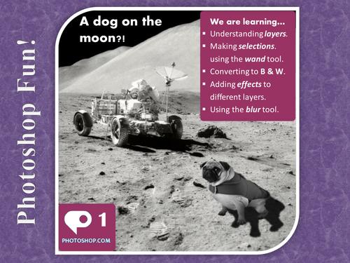 Photoshop Tutorial 1 - Dog on the Moon (cut, paste, selection, transform, blur, blending)