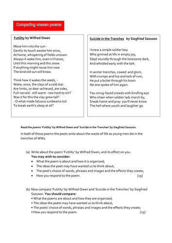 Comparing unseen poems: 'Futility' by Wilfred Owen & 'Suicide in the Trenches'  by Siegfried Sassoon