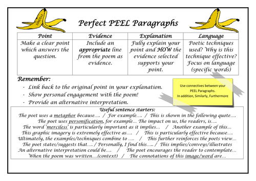 Perfect Peel Poetry Paragraphs Exposure Example By Brennanptes
