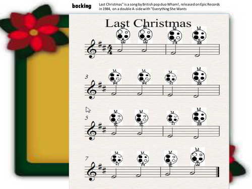 version of last christmas with easy instrumental part for ocarina or tuned instrument by pwilloughby3 teaching resources tes - Song Last Christmas