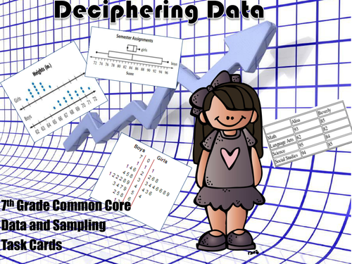 Data and Inferences Task Cards - 7th Grade Common Core