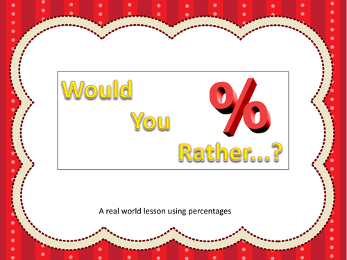 Would You Rather?  Percentage Task Cards for Centers