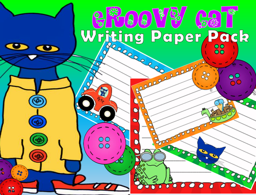 Groovy Cat Writing Papers - Literacy Centers - Creative Writing