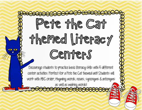 Cool Blue Cat Literacy Centers!