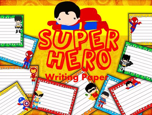 Super Hero Themed Writing Paper - Literacy - Writing Centers
