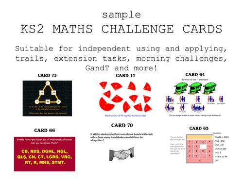 ks2 maths challenge cards - fun!
