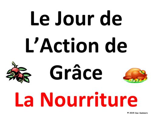 French Thanksgiving Food Word Wall - Jour de L'Action de Grâce