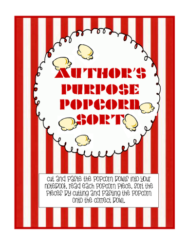 Author's Purpose Popcorn Sort