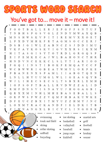 Sports Themed Word Search - Word Work - Vocabulary