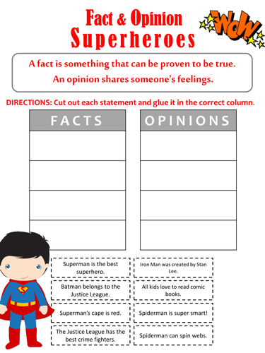 Super Hero Fact and Opinion Sort
