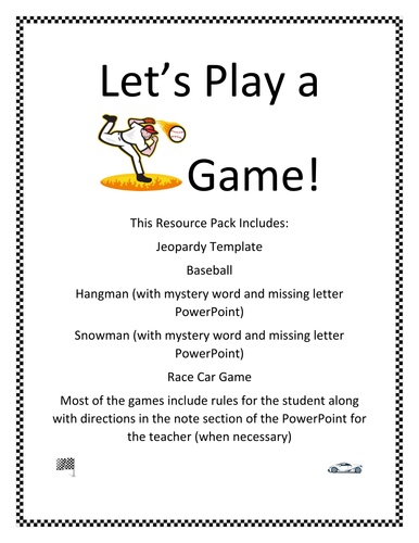 Let\'s Play a Game! by lahill1966 - Teaching Resources - Tes