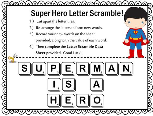 Super Hero Letter Scrambles - Word Work - Literacy Centers - Make a Word