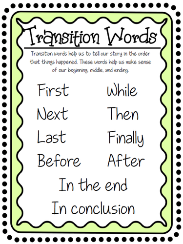 transition words for elementary temporal words ccss aligned 2 w