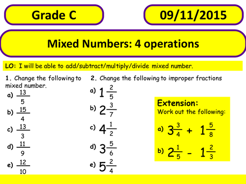 fractions mixed numbers  operations by ciaranfinn  teaching  fractions mixed numbers  operations by ciaranfinn  teaching resources   tes