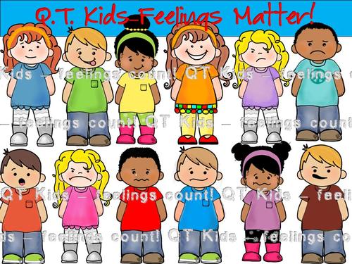 CLIP ART - QT Kids... Feelings Matter! - Children's Clip Art - Personal and Commercial use