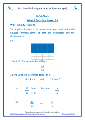 New Curriculum Year 6 Fractions Simplifying