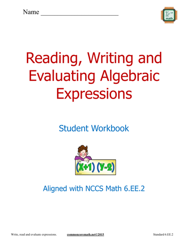 Read, Write and Evaluate Expressions - NCCS Math 6.EE.2