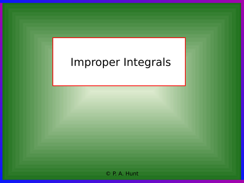 Improper Integrals 1 (A-Level Further Maths)