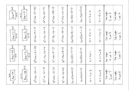 Forming Quadratic Equations Matching Activity By Jamesbeltrami