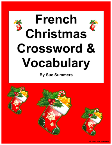 French Christmas Crossword Worksheet and Vocabulary - Noel