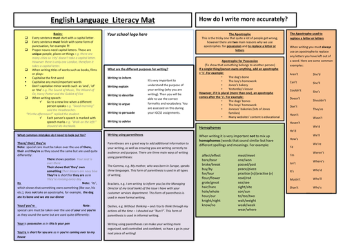 Double-sided Literacy Mat for KS3 and KS4