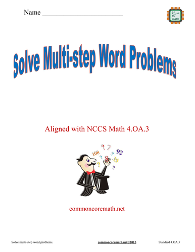 Write Equations to Solve Word Problems 4 page packet with assessment - Aligned with NCCS Math 4.OA.3