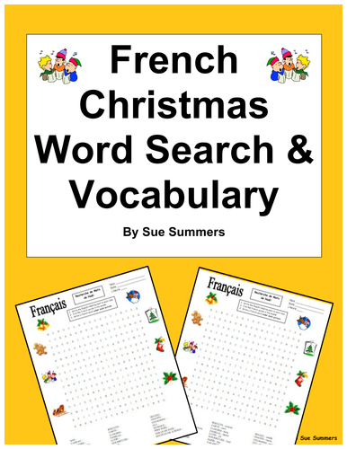 French Christmas Word Search Worksheet and Vocabulary